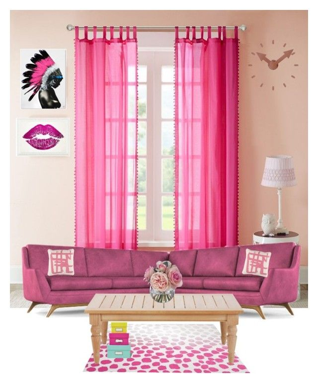 Fuschia living room by dwikiwardoyo on polyvore featuring for Fuschia bedroom ideas