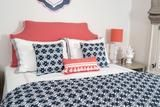 Bronwyn Navy with Coral Headboard Pillow