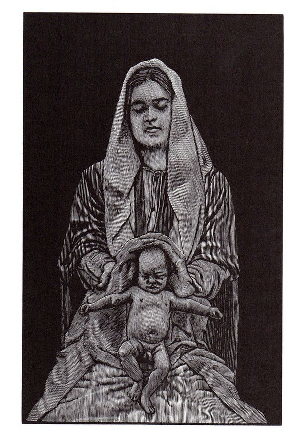 The Nativity | Barry Moser Print reproduction | 20.5 x 13 cm. |  Illustrations from The Pennyroyal Caxton Bible Prospectus, 1999