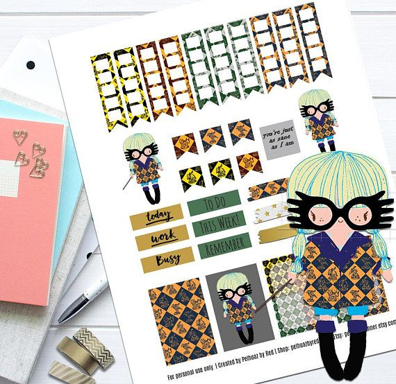Wizard Girl Theme Planner Weekly Sticker Kit Happy Planner | Craft Supplies & Tools | Party & Gifting | Labels, Stickers & Tags | Stickers | Happy Planner | Weekly Stickers Set | Planner Stickers | Weekly Planner Set | Printable Stickers | Themed Sticker Set | Stickers | Classic | Fandom Stickers | Harry Potter | Luna Lovegood  | Luna | Ravenclaw