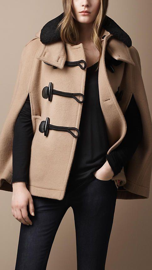 Burberry - Cape Duffle-coat avec col en shearling