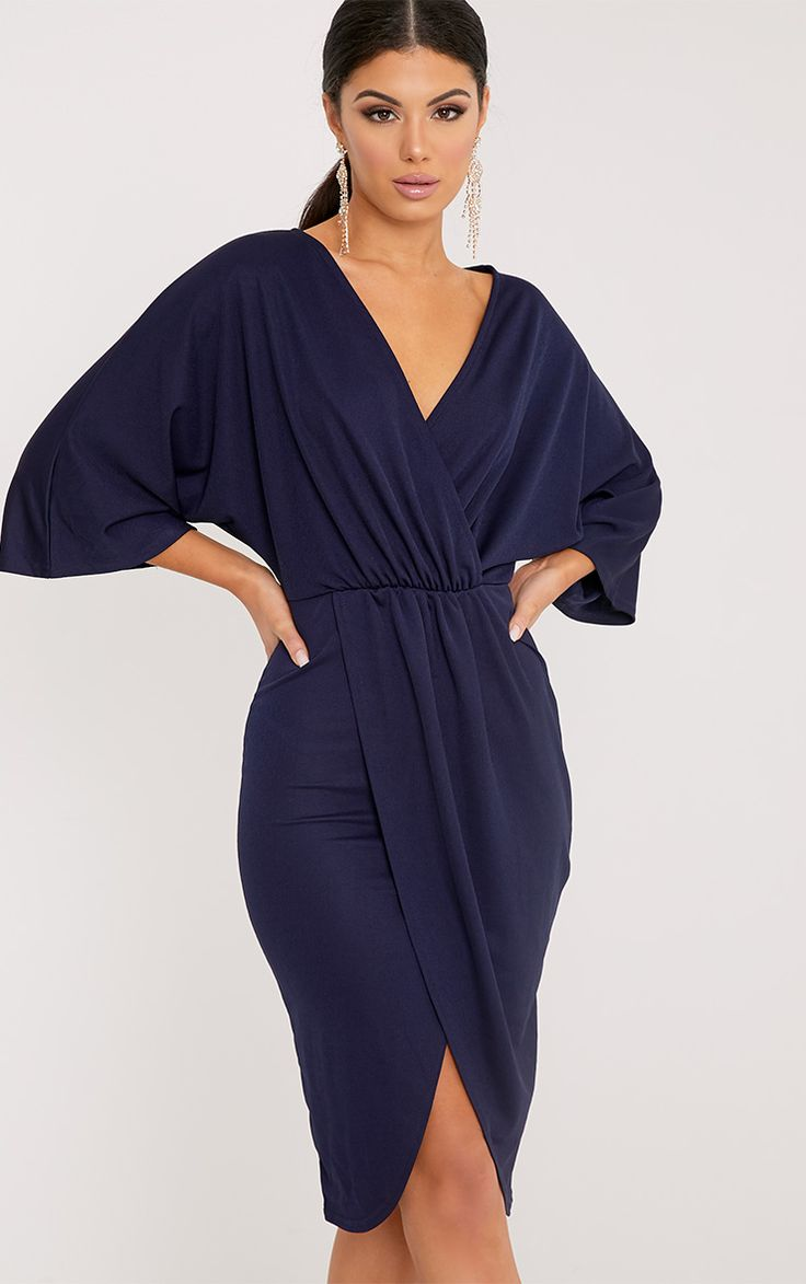 Archer Navy Cape Midi Dress Image 1