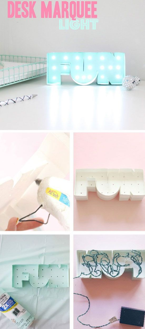 desk marquee light 24 diy teenage girl bedroom decorating ideas
