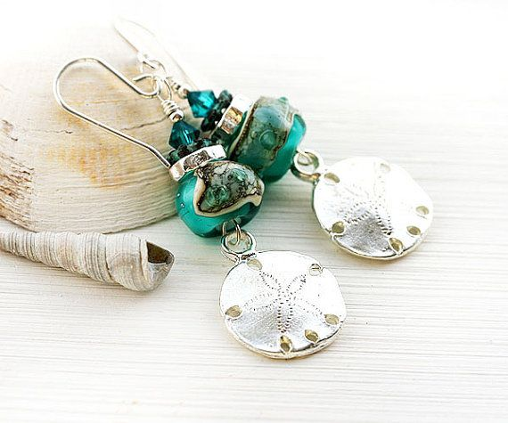 Sand dollar Earrings/ Glass Beach Earrings/ by MayaHoneyJewelry  #forsale #etsy #glass #handmade #accessories #beaded #homemade #bohemian #shopping #handcrafted #forgirl #jewelry #lampwork #fashion #mayahoney #dangle #silver #earrings #beach #shells #seaglass #starfish #ocean #teal