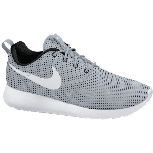 Nike Roshe Run Women's Trainers, Wolf Grey/White ($52) ❤ liked on Polyvore featuring shoes, sneakers, nike, cushioned shoes, nike footwear, breathable shoes, mirror shoes and low shoes