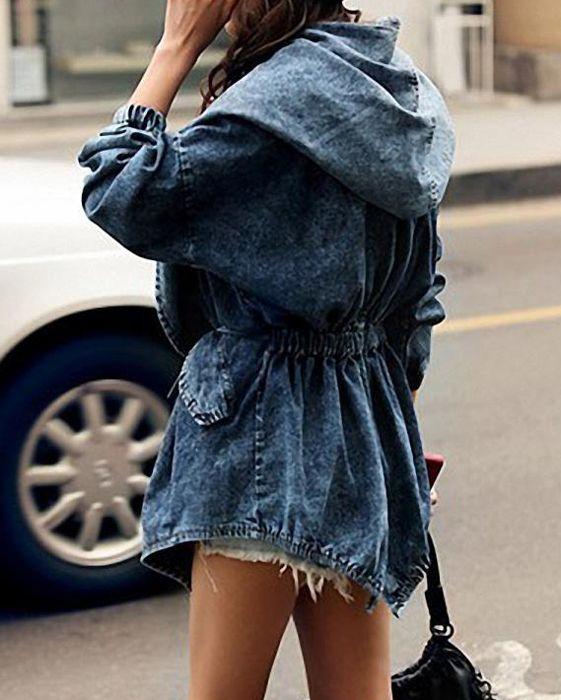 Women's Denim Trench Coat Hoodie Hooded Outerwear Jeans Jacket CoatCoats | RoseGal.com