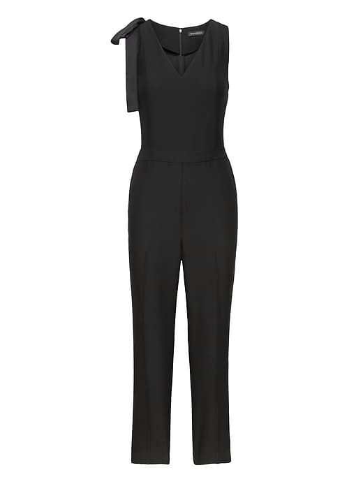 820c21df5797 Banana Republic Womens Bow-Shoulder Jumpsuit Black