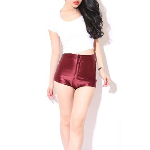 Women's Fashion Sexy Shorts Shiny Disco Club High Waist Button Fly Solid Skinny Apparel Ladies Mini Shorts Hot 8 Style