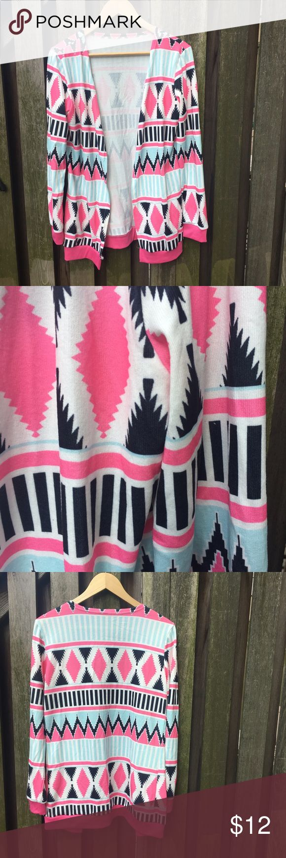 Pink and Blue Tribal Cardigan Baby Pink and Baby Blue Tribal Pattern with Thin Black Line Details | Cardigan has no buttons or closures | this is the perfect lightweight summer sweater | Super soft and comfy | NWOT | Size M Sweaters Cardigans