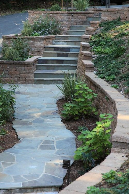 Brick retaining wall.: Stones Step, Exterior Stairs, Backyard Ideas, Porches And Patio, Front Yard, Stones Paths, Winter Window Boxes, Landscape, Retaining Wall