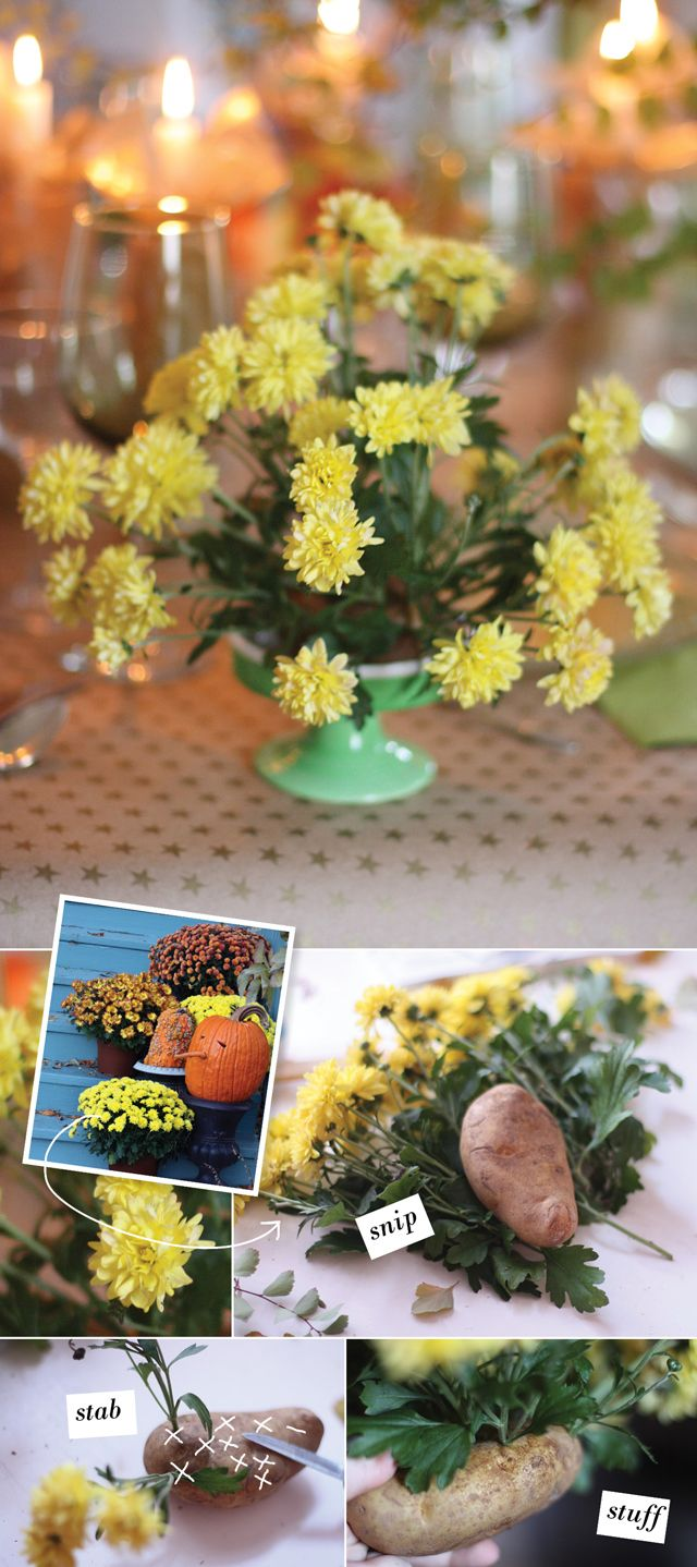 Use apples and potatoes as the base for easy, mini flower arrangements. Perfect for a holiday spread.