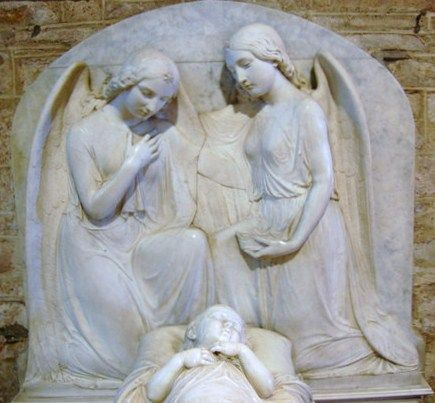 Mary Thornycroft was the sculptor of this moving piece - a child of the Martin family of Ledbury (1851). The angels have their arms round each other as they mourn the little boy. Mary was extensively used by Queen Victoria to record her many children.
