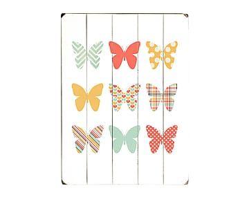 Cuadro de madera Butterflies - 30,5x40,6 cm