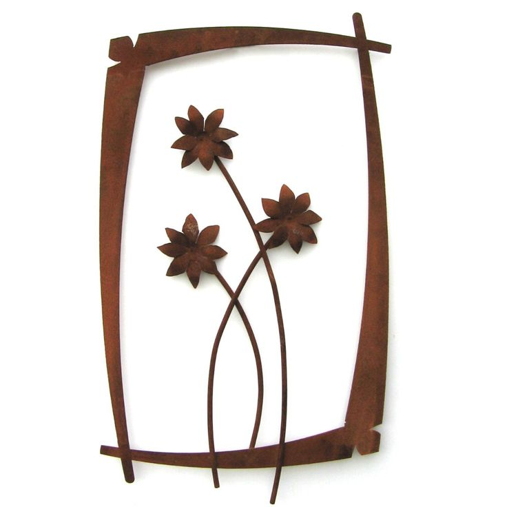Metallic Evolution Outdoor Field Dasies Wall Flower Steel Sculpture WFO-02, Artistic Artisan Metal Wall Art