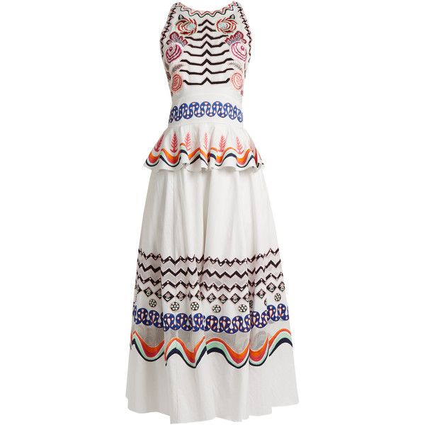 Temperley London Spellbound geometric-embroidered cotton dress ($1,149) ❤ liked on Polyvore featuring dresses, white multi, garden party dress, white embroidered dress, white day dress, white cotton dress and boho chic dresses