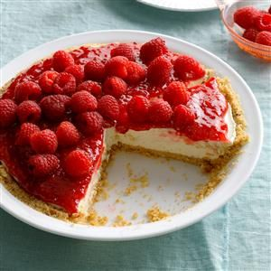 Contest-Winning Raspberry Cream Pie Recipe -This recipe is delicious with either fresh-picked or frozen raspberries. That means you can make it year-round. One bite of raspberry pie will instantly turn winter to summer. —Julie Price, Nashville, TN