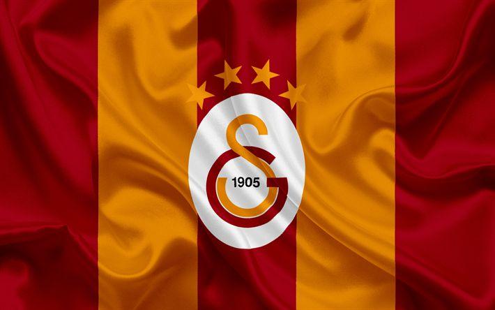Herunterladen hintergrundbild galatasaray, dem türkischen fußball-club, emblem, galatasaray logo, rot, gelb, seide fahne, istanbul, türkei, türkisch-football-meisterschaft