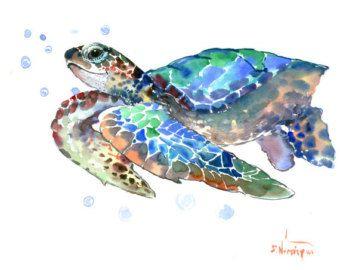 Tortugas marinas acuarela de pintura, original pintura, 14 X 11 en arte de la pared náutico azul, luz azul minimalista