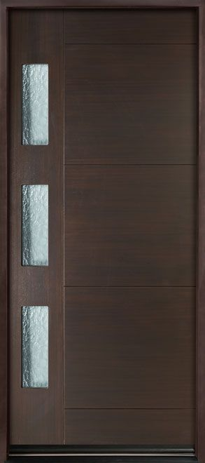 Modern Euro Collection Mahogany Wood Veneer Solid Wood Front Entry Door - Single