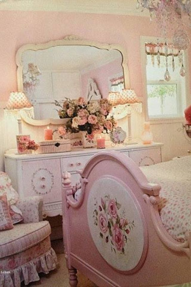 81 best pretty in pink images on pinterest antique Shabby chic girls bedroom furniture