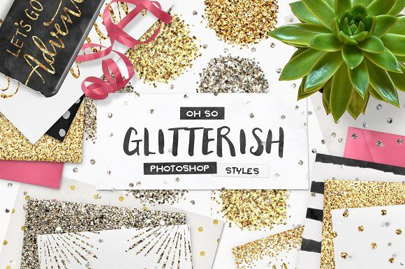 100 Glitter PS Styles + EXTRAS! by Pink Coffie on @creativemarket