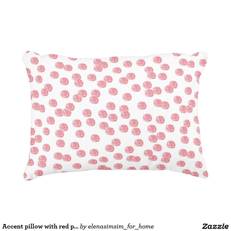Accent pillow with red polka dots