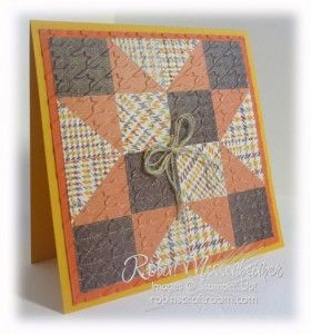 "handcrafted quilt card ... Texas Star ... Autumn colors ... luv the menswear print with the houndstooth embossing folder texture ""quilting"" the patchwork... great card ... luv the info Robin includes with her set of quilt cards ..."