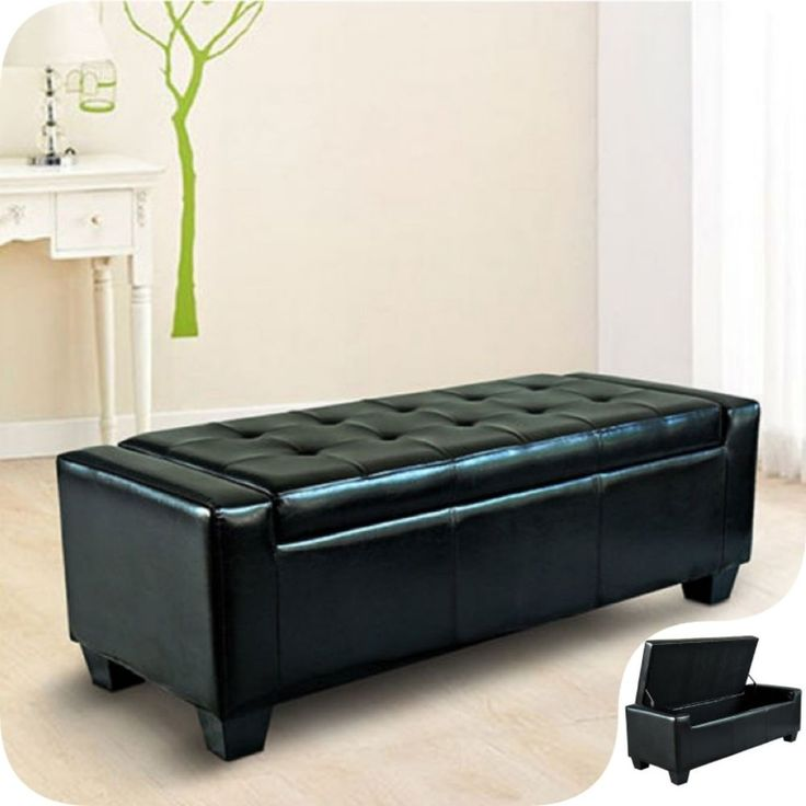 modern storage bench pu leather black luxury ottoman stool hallway office seat