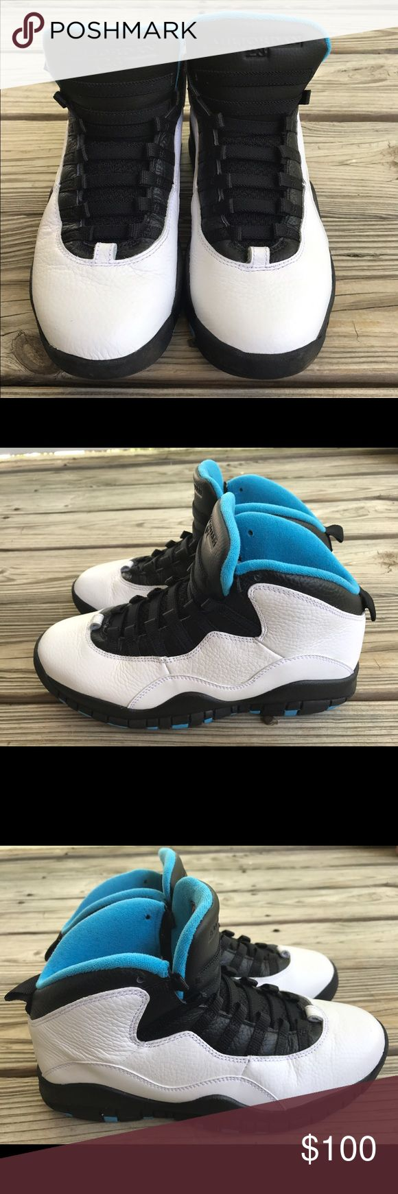 Authentic Retro Jordan 10 White, black and blue Authentic Retro Jordan 10 White,Black and Blue. No shoe laces,No Box. 🚫Offers in the comment section will not be considered please use the offer Button.🚫 Jordan Shoes Sneakers