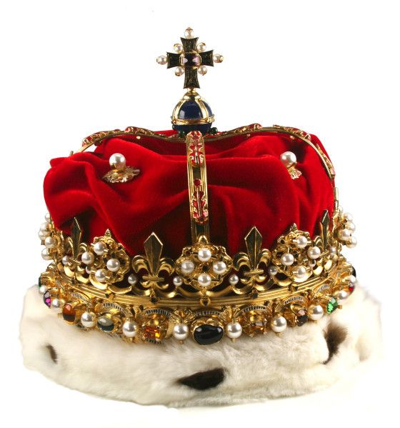 The Crown of Scotland was remade in its modern form for King James V of Scotland  in 1540. It is part of the Honours of Scotland the oldest set royal regalia in the United Kingdon. In 1540, the bonnet of velvet and ermine was added, bringing it to its present form. An earlier form is shown in the portrait of James IV of Scotland  in the Book of Hours, done for his marriage to Margaret Tudor in 1503: this sets the latest date of original manufacture.