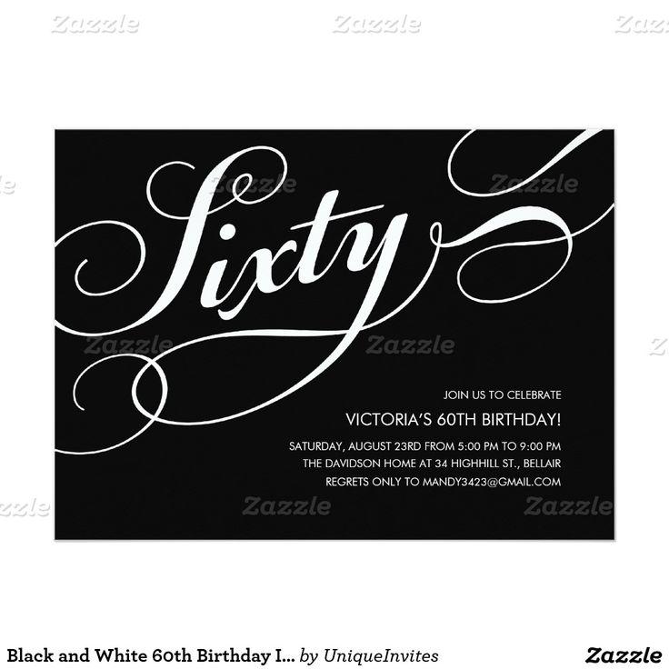 Black and White 60th Birthday Invitations