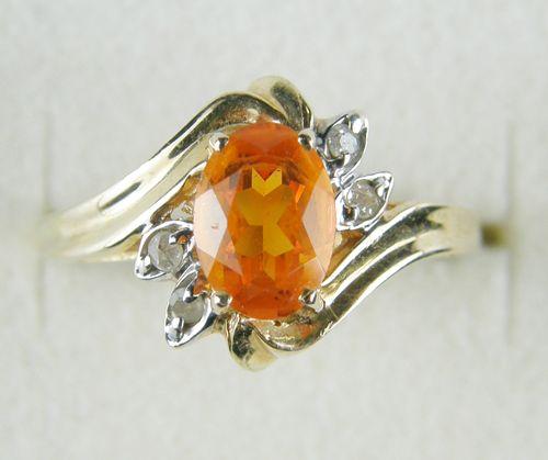14Kファイヤオパール&ダイヤモンドリング! 1924年設立のテキサスの有名宝石店、ゼールスの超レア!メキシコ産ファイヤーオパールとダイヤモンドのリングです。