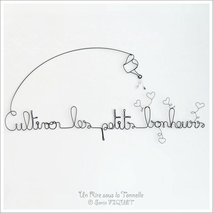 """Décoration fil de fer amour - """"Cultiver les petits bonheurs"""""""