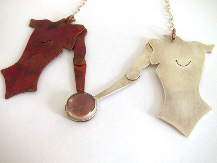 Copper and Silver Torso Necklace by Rosita Bailey-Rosse