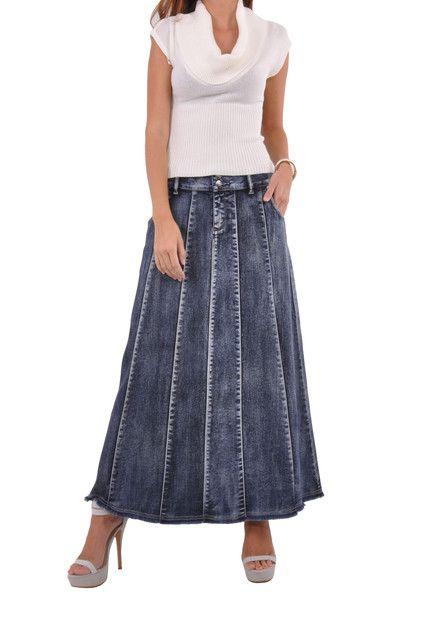 Fantastic Flared Long Jean Skirt # RE-0543 | Style J Fashion for women's denim skirts