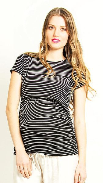 Short or long sleeve the Verticle Milkbar Top is a Preggi must have