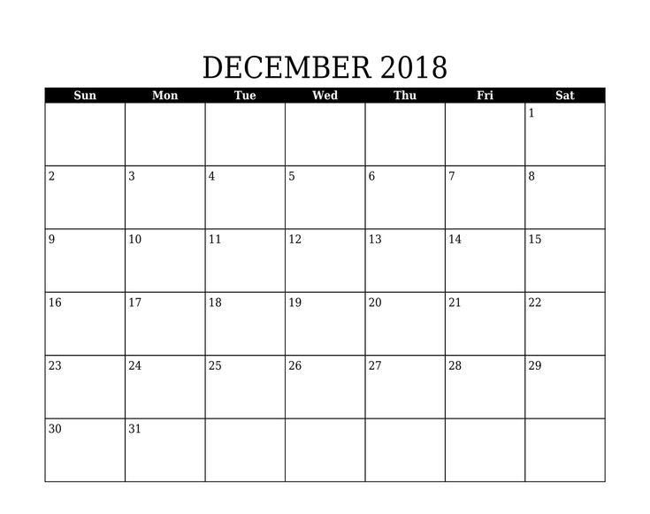 December Calendar 2018 Print December 2018 Calendar Pinterest