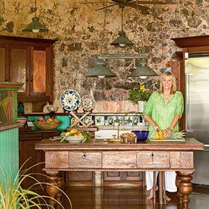 100 Comfy Cottage Rooms | Rustic Island Kitchen | CoastalLiving.com
