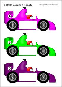 Editable racing car templates (SB7757) - SparkleBox