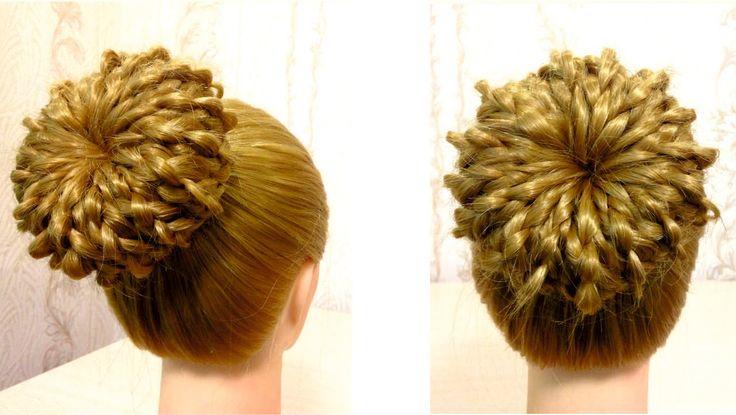 Пучок из волос на основе 4 х прядной косы. Видео урок 2. Hair donut bun