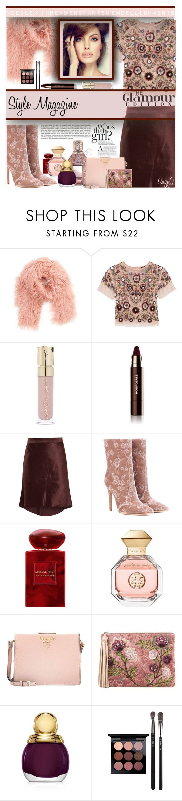 """MILLINNIAL PINK TREND: Style Magazine"" by polyvore-suzyq ❤ liked on Polyvore featuring Toria Rose, Needle & Thread, Smith & Cult, Hourglass Cosmetics, Raey, Gianvito Rossi, Armani Beauty, Tory Burch, Prada and Sam Edelman"