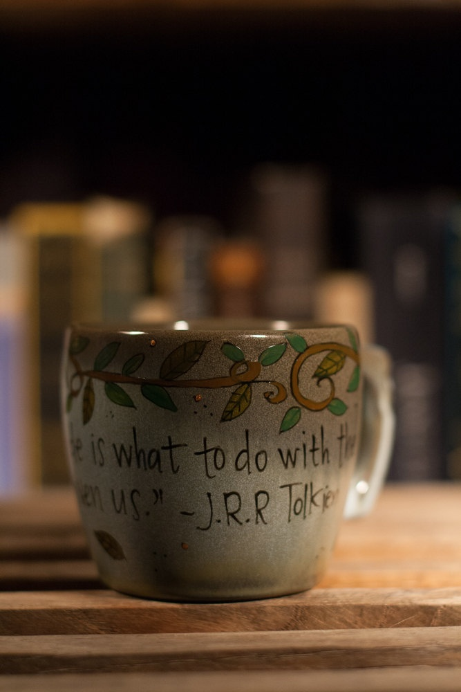 J.R.R. Tolkien All we have to decide is what to do with the time that is given us LOTR Literary Quote Mug -Small blue and brown with vines. $14.00, via Etsy.