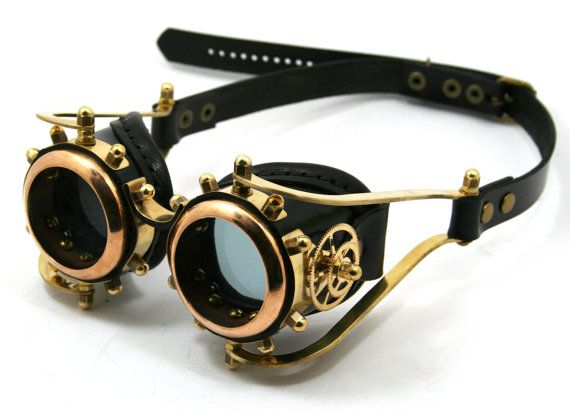 Steampunk Goggles solid brass black leather gears by MannAndCo, - I REALLY like these goggles.  If I were going to invest in an expensive pair, it would likely be these.