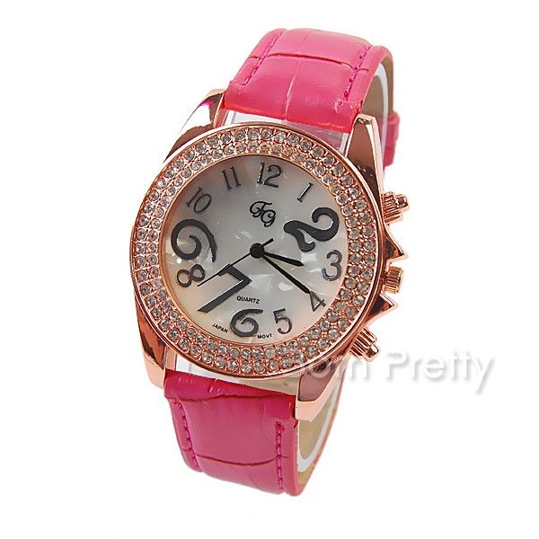 $9.95 PU Band Round Dial Wrist Watch Precise Rhinestone Analog Quartz Watch - BornPrettyStore.com
