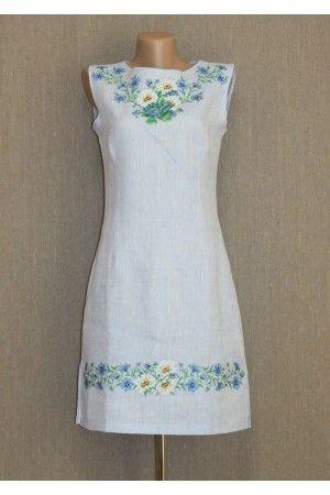 Сукня «Ромашки» блакитного кольору – з орнаментом, український стиль, купити у Києві