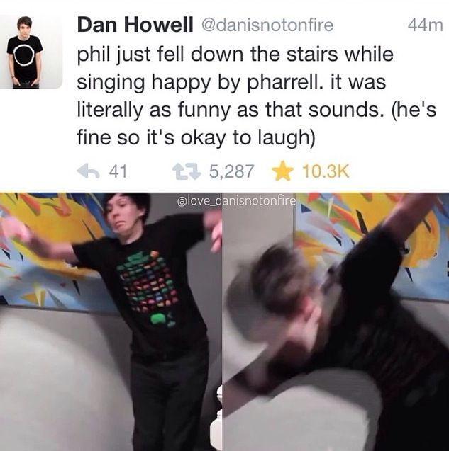The fact that Dan took a picture of Phil falling is hilarious. That song is evil