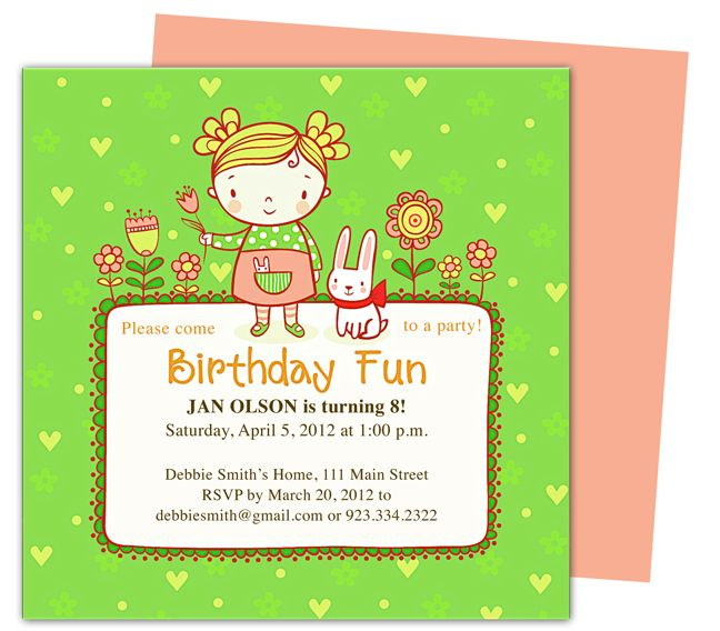 Abby Kids Birthday Party Invitation Templates, perfect for a little girl's party. Edit with Word, Publisher, Apple iWork Pages, OpenOffice. Download, easy to edit and print.