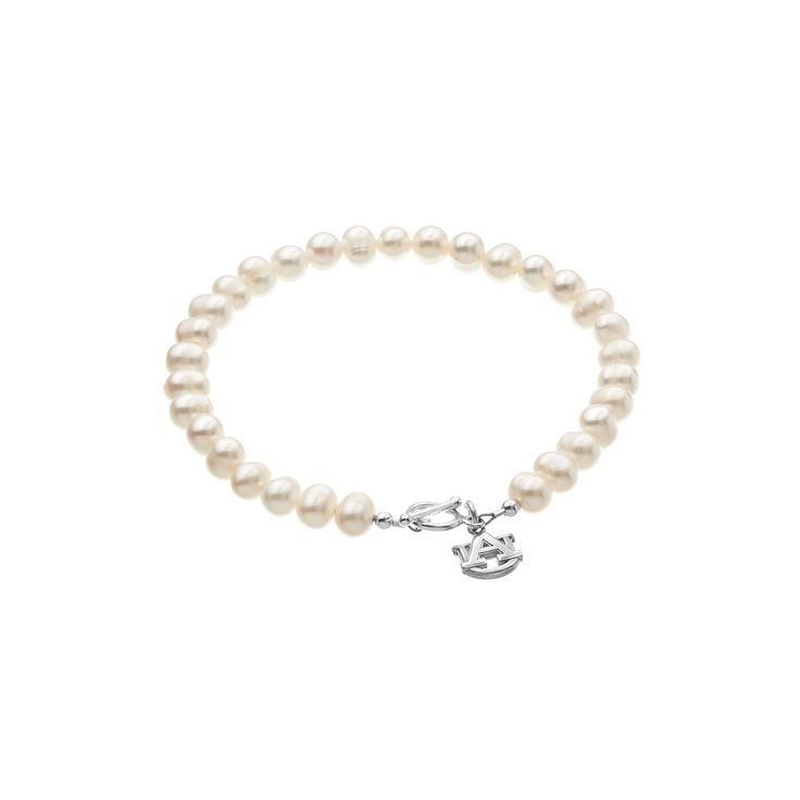 "Dayna U Auburn Tigers Sterling Silver Freshwater Cultured Pearl Logo Charm Toggle Bracelet, Women's, Size: 8"", White"