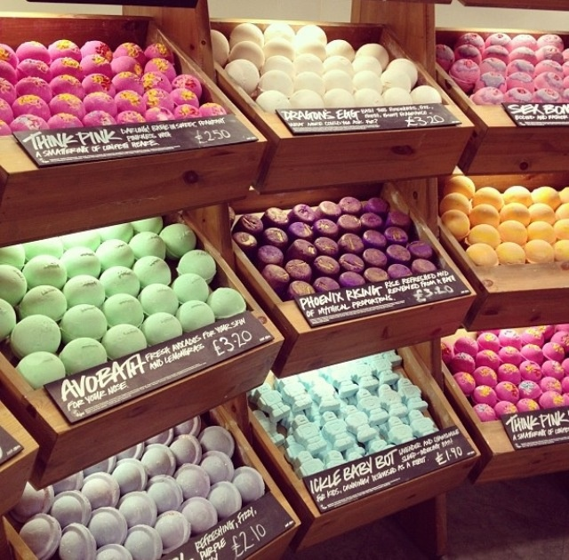 Bath bombs from Lush - you can order them online or get them in a store. I like the dragon's egg and butterball most but i'd like to try all of them eventually