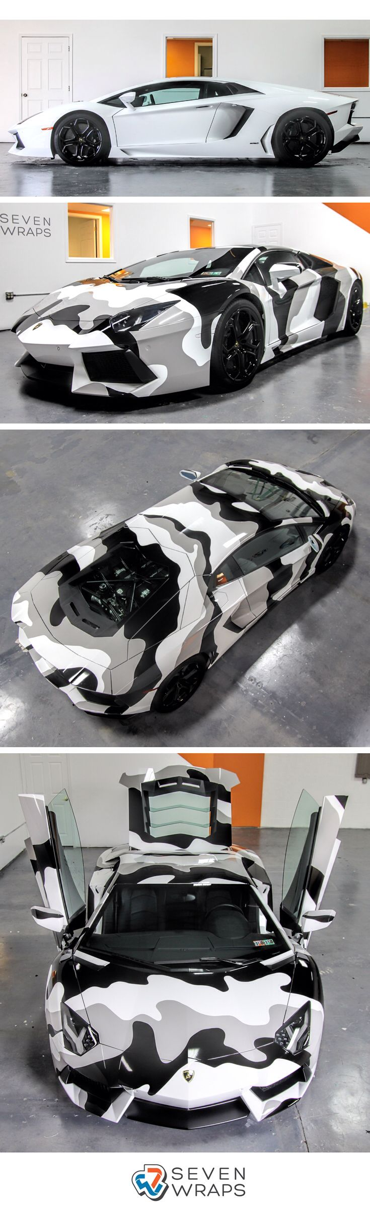 Lamborghini Aventador camo wrap by Seven Wraps wrapped with Avery Dennison Supreme Wrapping Film gloss grey and gloss black.